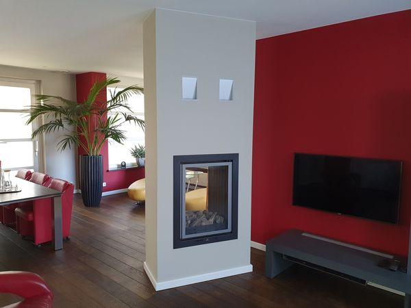 Schilderwerk woonkamer rood-min